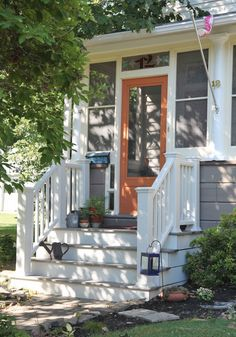 front porch ideas curb appeal Small Front Door Ideas Porches Curb Appeal 52 Ideas For 2019 Porch Steps, House With Porch, Front Porch Steps, Modern Front Porches, Small Front Porches Designs, Porch Stairs, Porch Railing, Front Porch Design, Building A Porch
