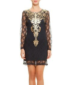 Look at this #zulilyfind! Gold & Black Sheer Lace-Overlay Dress by Polkadot #zulilyfinds