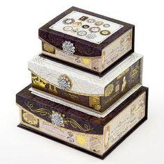 パンチスタジオ ブローチフラップBOX チャーミング [PunchStudio]ボックス 小物入れ・ジュエリー・時計・アクセサリーギフトボックス ■サイズ:大18x14.3x6.5cm(高さ)  中15x12x5.5cm(高さ)  小12.7x10x5cm(高さ)  ■生産:中国