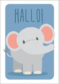 Ansichtkaart met olifant illustratie en de tekst 'Hallo!'.Leuk om te versturen maar misschiennog leuker ommet masking tape op te hangen in de kinderkamer, al dan nietin combinatie met de andere ansichtkaarten en posters van Studio Circus! Afmeting: A6 formaatMateriaal:300 grams gerecycled papier