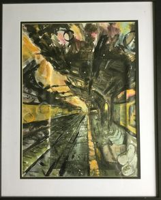"""""""Late"""" is a mixed media artwork exploring the themes of urban decay. It recently won a first place in the youth secondary category in a local art exhibition."""