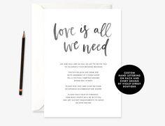 Printable Minimalist Wedding Invitation, Love is All We Need Wedding Invitation, Love is All We Need Invite, Simple Wedding Invitation Minimalist Wedding Invitations, Simple Wedding Invitations, Love Is All, Hand Lettering, Invite, Printable, Handmade Gifts, Etsy, Design