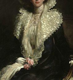 Portrait of a Lady, detail, by Hugh de Twenbrokes Glazebrook, 1904 Renaissance Paintings, Renaissance Art, Old Paintings, Paintings I Love, Gothic Aesthetic, Aesthetic Art, Victorian Art, Classical Art, Detail Art