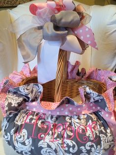 Gorgeous gray/pink Custom Easter basket by CindyJaegerDesigns@hotmail.com for your own basket orders - deadline March 1,2014