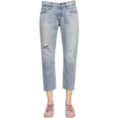 Levi's Red Tab Women 501 Ct Cropped Boyfriend Denim Jeans (270 BGN) ❤ liked on Polyvore featuring jeans, light blue, boyfriend fit jeans, distressed boyfriend jeans, light blue ripped jeans, destructed jeans and torn boyfriend jeans