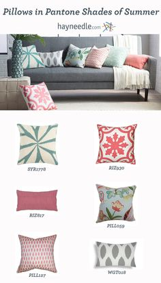Decorative pillows in several patterns, designs, and Pantone-inspired colors.