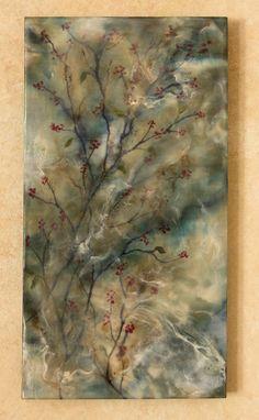 Original encaustic painting  blue branches by EncausticsbyGretchen, $46.00