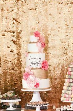 Beautiful gold, pink and blush 5 tier wedding cake.