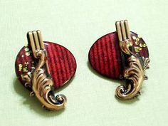 Vintage Matisse Red and Black Enamel Copper Lyre Clip Earrings RARE Style   eBay