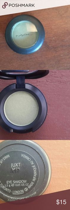 MAC Cosmetics Eyeshadow Single, Juxt Satin MAC Cosmetics Eyeshadow Single Juxt Satin. This shadow is a light green. Great for brown or blue eyes. You're the artist, you control the coverage. New, never used. Pair with Golders Green, available in a separate listing for a more intense look. MAC Cosmetics Makeup Eyeshadow