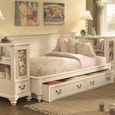 Full Size Daybeds with Storage   Retreat Twin Daybed Bookcase Ends and Underbed Storage