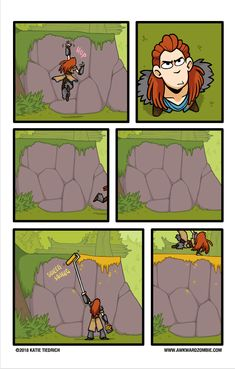 Rise of the Zero Dawn Gamer Video Game Logic, Video Games Funny, Funny Games, Awkward Zombie, Horizon Zero Dawn Wallpaper, Horizon Zero Dawn Aloy, Funny Comic Strips, V Games, Life Is Strange