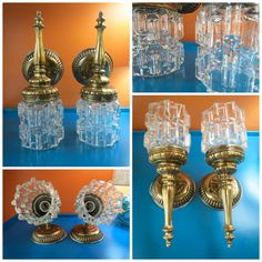 VTG 1970s Retro Mid Century Gold Metal Glass Globes Lamp Wall Sconce Fixtures