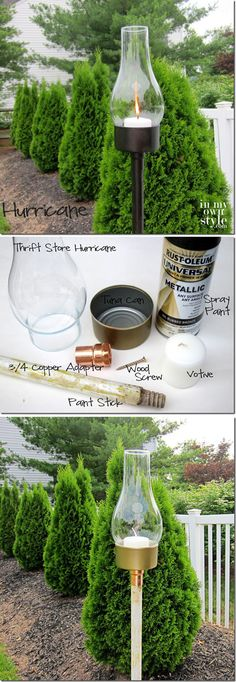 Cheap DIY Outdoor Lantern Lights | http://diyready.com/21-diy-outdoor-lantern-ideas/
