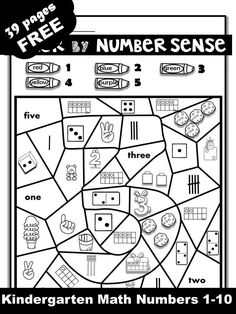 Looking for engaging resources to teach kindergarten numbers These coloring worksheets are excellent for number recognition and number sense practice. It is perfect for kindergarten math centers, morning work and homeschool. Free Math Worksheets, Kindergarten Math Worksheets, Kindergarten Activities, Coloring Worksheets, Preschool, Subitizing Activities, Thanksgiving Activities For Kindergarten, Number Sense Kindergarten, Math Numbers