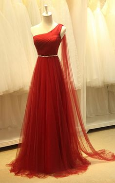 Red A Line One Shoulder Lace Tulle Sweep Train Pearl Long Prom Dress