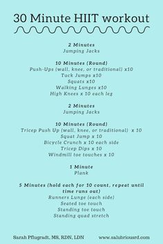 30 Minute HIIT Routine 30 Minute High Intensity Interval Training Routine: This routine is designed to keep your heart rate elevated to keep you in the fat burning zone for a sustained period of time. Set a timer on your phone or stopwatch to keep trac Hiit Workout Routine, Hiit Workout Videos, Hitt Workout, Hiit Workout At Home, At Home Workouts, 30 Minute Hiit Workout, Boot Camp Workout, Cardio Workouts, Outdoor Workouts