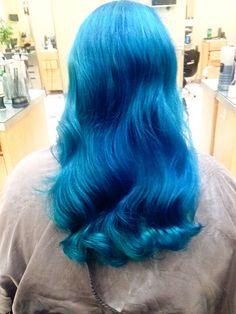 Blue Color Long Hair Styles, Blue, Beauty, Color, Beleza, Colour, Long Hair Hairdos, Long Hairstyles, Paint