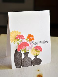 Floral Birthday Card by Maile Belles for Papertrey Ink (July 2012)