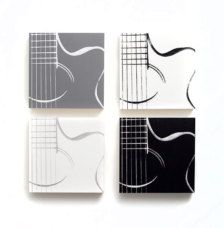 Music Wall Art: Acoustic Guitar Series  Can be easily hung on the wall or stood alone on a surface!    Wood-Cradled Panels with Black, White, & Gray Ink and Paint.    (4) 10 x 10 inch archival & acid-free Gallery wood cradled (1 1/2 in.) gesso panel.      © Colleen McWilliams    All artwork dated and signed on back.  *All artwork is painted & printed by hand, resulting in possible minor differences from the photos. This makes each piece unique.