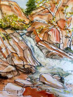Kanarra falls ink watercolor