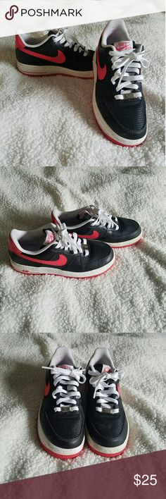 Air Force One Black with red swoosh sign. Good condition. SAME OR NEXT DAY SHIPPING MONDAY-FRIDAY Nike Shoes