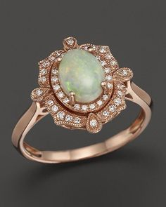 Opal and Diamond Antique Inspired Ring in 14K Rose Gold