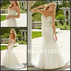 Custom Made 2013 New Style Sweetheart Court Train Ivory Satin with Beading Lace Open Back Mermaid Wedding Dress $159.00