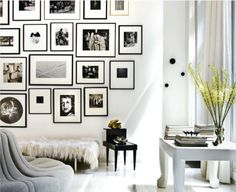 This is such a cool space. I love the fur bench! And look at that round gray seating!