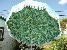 Vintage Aqua Finkel Patio Umbrella w White Fringe Blue Roses Flowers Mint