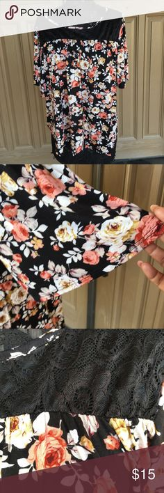 NWT- Rose Print with lace collar Top Size 2X 96% Rayon 4% spandex, mauve rose, cream rose print, black lace top hem. Loose flowy fit. 100% comfort SjS Tops Blouses