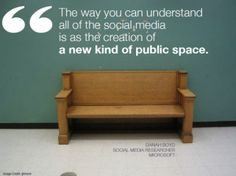 """""""The way you can understand all of the social media is as the creation of a new kind of public space."""" -Danah Boyd (Quote out of 101 awesome marketing quotes from Hubspot) Citations Marketing, Marketing Quotes, Mobile Marketing, Inbound Marketing, Internet Marketing, Online Marketing, Social Media Marketing, Digital Marketing, Content Marketing"""