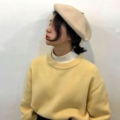 (© to owner) Yellow Aesthetic Pastel, Aesthetic Colors, Pastel Yellow, Mellow Yellow, Aesthetic Pictures, Aesthetic Clothes, Yellow Theme, Korean Aesthetic, Poses