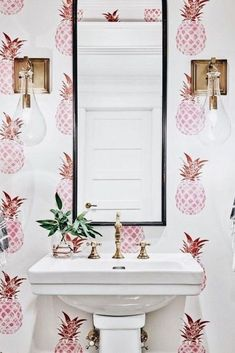 Would have never thought I'd want pink pineapple wallpaper. Would have never thought I'd want pink pineapple wallpaper. Farmhouse Dining Room, House Styles, Inspiration, Bathroom Inspiration, Bathroom Wall Decor, Powder Room Wallpaper, Pink Pineapple Wallpaper, House Interior, Pineapple Wallpaper