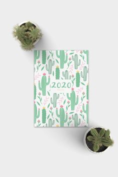 Plain Paper Green Colourful Cactus Design A5 Sized Notebook