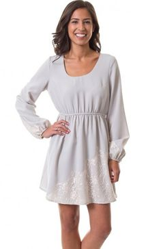 eb2a3f96b5 Round neck long peasant sleeve floral lace design dress featuring elastic  waist