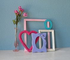 Shabby Chic Picture Frames in Shades of Pink Blue by TheArtofChic, $50.00