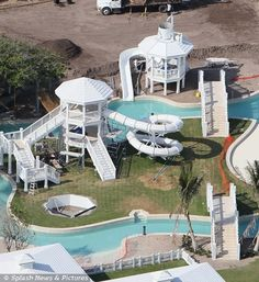 Celine Dion's £13m ocean-front house in Florida is like a mini-Disneyworld. It has its own giant water park with a lazy river, a choice of different swimming pools and a luxury treehouse. There are six bedrooms, two guesthouses, a gym, tennis courts and beach cabanas. This house screams only one thing to us: pool party!