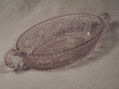 Vintage Light Pink Pressed Glass Crystal Relish / Condiment / Pickle Dish with Handles