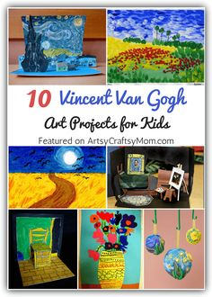 Top 10 Van Gogh Projects for Kids - Inspire your Heart with Art Day - Van Gogh Projects for Kids – 10 Inspiring Ideas to try with your kids, celebrating 'Inspire you - Art Lessons For Kids, Art Lessons Elementary, Art For Kids, School Art Projects, Projects For Kids, Van Gogh For Kids, Art Doodle, Fun Craft, Craft Kids