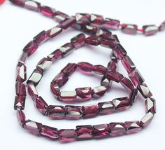 Natural Rhodolite Garnet Faceted Rectangle Beads Strand, – Jewels Exports