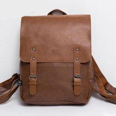 Vintage PU Leather Men Leisure Backpacks Preppy Style 14'' Mens laptop shoulder bag