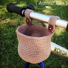Kids Bike Basket Free Crochet Pattern. This free crochet pattern by Amour Fou is a great one for crochet newbies or beginners. Nice and simple stitches! Its designed for a childs size bike.