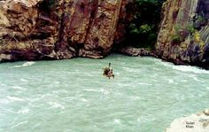 Beauty,Chairlift over crossing the Gilgit river Hunza valley Gilgit Baltistan Pakistan