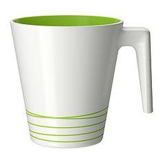 """HURRIG mug, green, white Height: 4 """" Volume: 8 oz Height: 9.5 cm Volume: 25 cl"""
