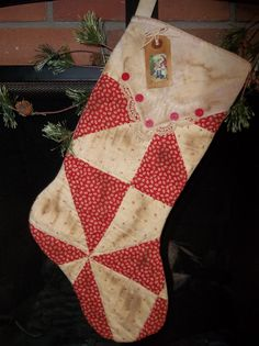 "vintage hankie stockings | ... Holiday Stocking - Old Cutter Quilt with Vintage Handkerchief ""Cuff"