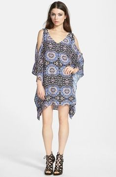 not the shoes...what is up with uggggggly shoes? ASTR Cold Shoulder Shift Dress | Nordstrom