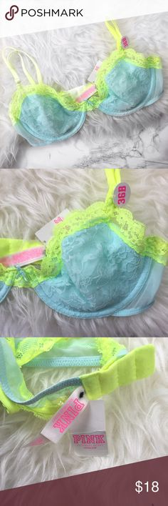 PINK Victoria's Secret lace bra NWT Fun and pretty PINK by Victoria's Secret blue and neon green lace bra. New with tags. No padding, has underwire. No trades. PINK Victoria's Secret Intimates & Sleepwear Bras