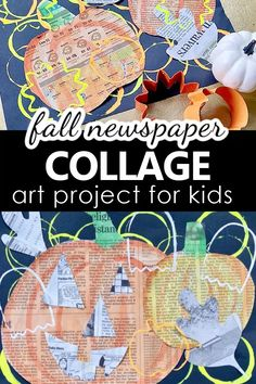 Children will love the active process of stamping with cups and cookie cutters as they build layer upon layer of overlapping colors and shapes Kids Painting Activities, Painting For Kids, Art For Kids, Kids Fun, Fall Art Projects, Toddler Art Projects, Projects For Kids, Newspaper Collage, Collage Art