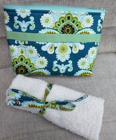 Turquoise Cotton Travel Toiletries Bag and Toohbrush Roll, Makeup Bag, Accessory Bag by SewSewPink on Etsy